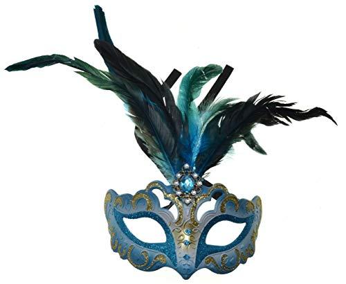 VENTURA TRADING MX6 Azul Máscara de la Mascarada Mascarilla Veneciana Decoración de Plumas Mujer Mascarada Disfraz Partido Pelota Paseo