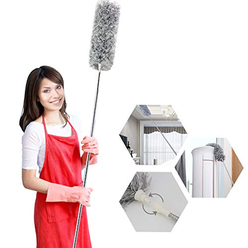 Microfiber Duster, Feather Duster with 30-100 inch Telescoping Extension Long Pole, Bendable Head & Scratch-Resistant Hat for Cleaning Ceiling Fan, Cobweb, High Ceiling, Furniture & Cars