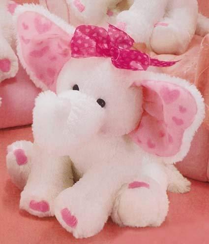 Russ Berrie Plüsch Ellie the weiß & rosa Elefant mit Herzen 43,2cm