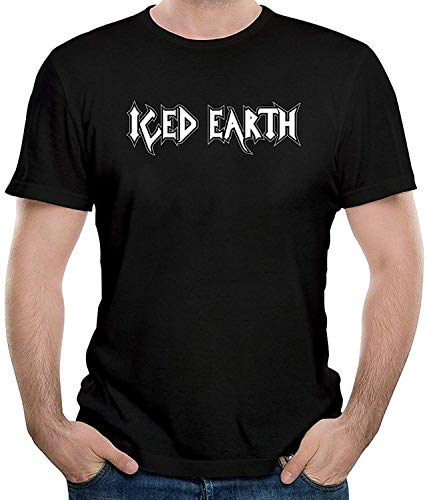 Iced Earth Logo Men's Casual Short Sleeve T-Shirt Print Fashion Tee Black,Black,XX-Large