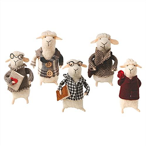 CATALOG CLASSICS Felted Wool Sheep in Clothes Decorative Figurines - Set of 5 Cute Lamb Ornaments