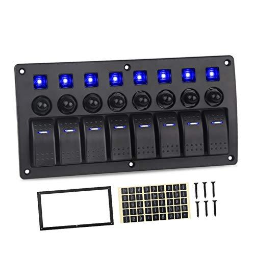 SHOUNAO Ajuste para el Panel de interruptores de Jeep 8 Gang 12V 20A 24V 10A Impermeable al Agua 5pin Boat Boat Marine Coche 12V Rocker LED Panel Interruptor con interruptores (Color : Blue)
