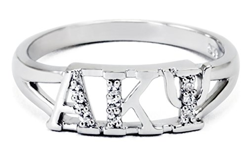 The Collegiate Standard Alpha Kappa Psi Sterling Silver Ring set with Czs size 6