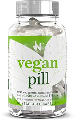 Vegan Pill - The UK's Premium Vegan Supplement. Plant Based Omega 3. Vitamin B12. Vitamin D3 Vegan Multivitamin Immune Support High Strength Omega 3 1200mg B12 1MG D3 1000IU DHA