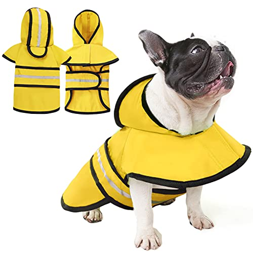 AOFITEE Dog Raincoat Waterproof Pet Hooded Slicker Poncho, Adjustable Puppy Rain Jacket with Safety Reflective Strap, Lightweight Rainwear Snow Clothes for Small Medium Dogs (Yellow M)