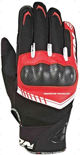 IXON Domme - Guantes de piel para motocicleta (rojo/blanco/negro, M)