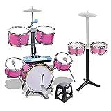 HXGL-Drum Juego de batería de Jazz con 7 Tambores y 2 Baquetas para niños, Juego Musical Educativo, Juego de Instrumentos de percusión de Juguete, Regalos para niños y niñas