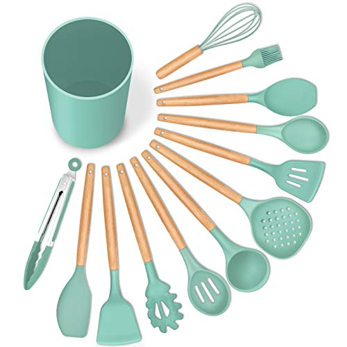 LIANYU 13-Piece Silicone Kitchen Cooking Utensils Set with Holder, Wooden Handle Utensils for Cooking, Kitchen Tools Include Spatula Turner Spoons Soup Ladle Tong Whisk