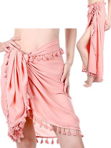 2 Stücke Strand Sarong Pareo Damen Sarong Badeanzug Bikini Sommer Strand Wrap Abdeckung Ups Rock mit Quasten (Rosa)
