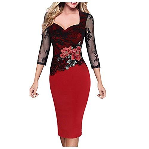 TEELONG Kleider Damen Elegante Vintage drehen unten Kragen Blume Spitze Langarm Partykleid Ballkleid Partykleid Cocktailkleid(XXL, rot)