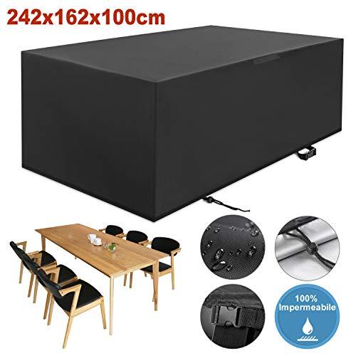 YISSVIC Cubierta de Muebles de Jardín Fundas de Muebles Impermeable Resistente al Polvo Anti-UV Protección Exterior Muebles de Jardín Cubiertas de Mesa y Silla Negro 242x162x100cm