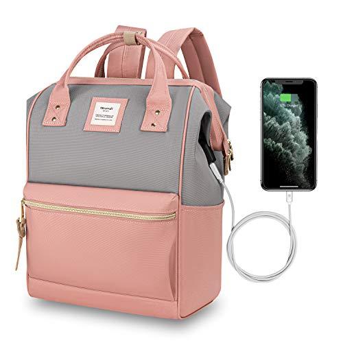 Hethrone Rucksack Damen Laptop mit 15,6 Zoll Anti Diebstahl Schulrucksack mit USB Ladeanschluss für Uni Reisen Freizeit Job Pink Grau