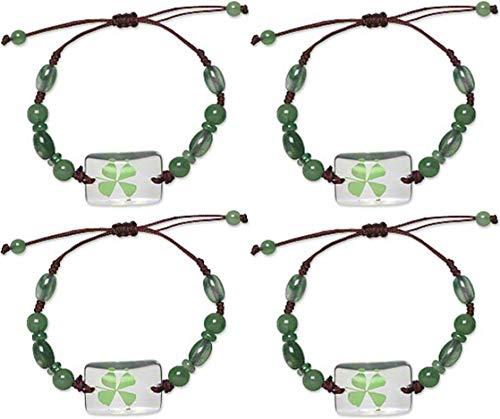 本物 四つ葉のクローバー グリーンシャムロックブレスレット 開運 聖パトリックの日用ジュエリー4点セット