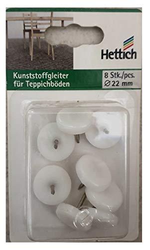 Kunststoffgleiter für Teppichböden 8 St Durchmesser 22 mm Hettich weiss