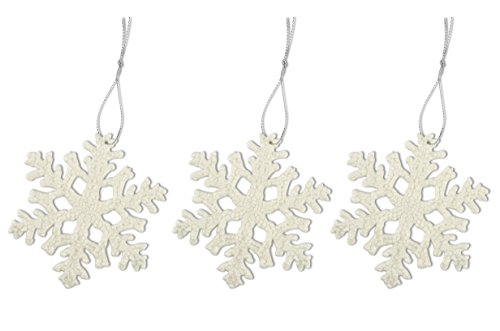 Helmecke & Hoffmann * 3er-Set Schneeflocken-Anhänger   Weiß mit Glitzer   Christbaumschmuck Weihnachtsbaumdekoration Baumanhänger   Ø ca. 10 cm
