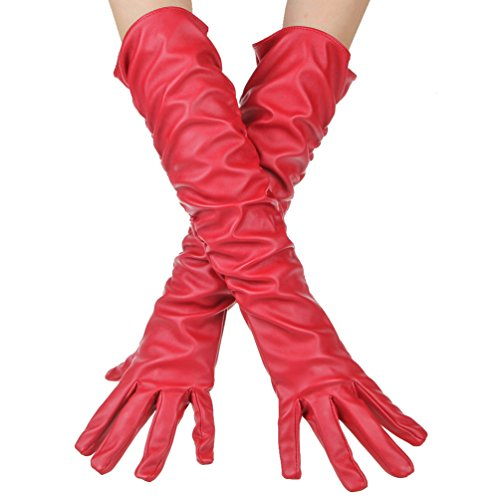 Women Wrinkle Long Soft Imitation Leather Gloves Costume Accessory (Red)