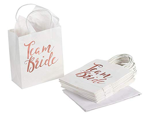 15 Pack Bridesmaid Gift Bags - Team Bride Rose Gold Foiled with Handle Includes Tissue Paper for Bridal Shower Bachelorette Party, 8 x 9 inches