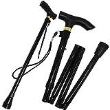 Guilty Gadgets Foldable Adjustable Height Folding Height Aluminium Lightweight Walking Stick Cane Non Slip Unisex (Black)