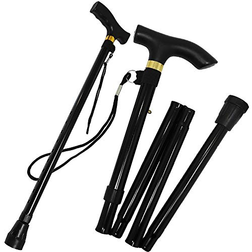 Guilty Gadgets ® - Foldable Adjustable Height Folding Height Lightweight Walking Stick Cane Non Slip Unisex