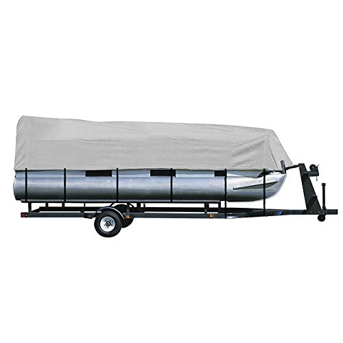 iCOVER Trailerable Pontoon Boat Cover, Fits 17 to 20ft Long & Beam Width up to 102in Pontoon Boat with Storage Bag, Heavy-Duty Waterproof Stormproof, Fade-Resistant Polyester, Grey