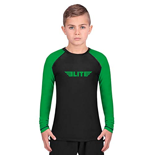 Elite Sports Rash Guards for Boys and Girls, Full Sleeve Compression BJJ Kids and Youth Rash Guard