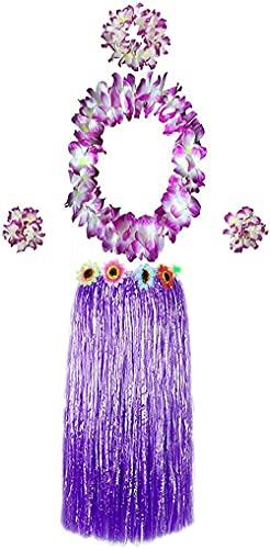 Carnavalife Falda Hawaiana con Collar Pulseras y Diadema de Flores, Disfraces Guirnalda con Elástica para Niñas Mujer Adultos,Pack de 5 piezas (Morado)