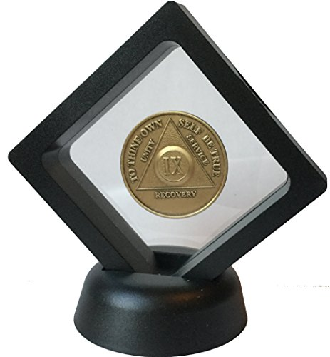RecoveryChip Black Diamond Medallion Coin Chip Display Stand Holder Magic Suspension Box