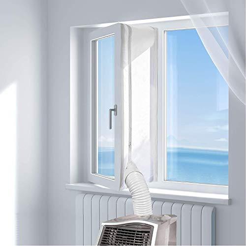 GeekerChip 400cm fensterabdichtung für Mobile klimageräte,Hot Air Stop mit Reißverschluss zum Anbringen an Balkontüren | Alternative zur Fensterabdichtung -Weiß