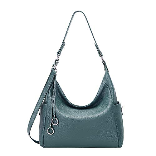 OVER EARTH Genuine Leather Hobo Purses and Handbags for Women Ladies Shoulder Crossbody Purse(O148E Teal Blue)
