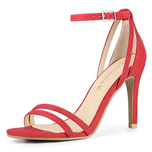 Allegra K Donna Caviglia Cinta Stiletto Tacco Sandali Rosso 40