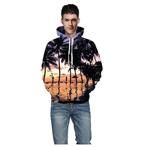 LONGDAYSweatshirt Pocket Christmas Halloween Unisex 3D Novelty Hoodies Graphic Pattern Print Galaxy Pullover Orange