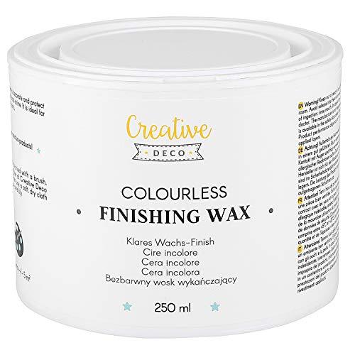 Creative Deco Farbloses Wachs-Finish | 250 ml | Klarer Oberflächenschutz | Transparente Politur | Leichter Glanz | Perfekt für Rohe oder Dekorierte Flächen