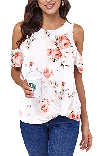 Ancapelion Cold Shoulder - Camiseta de manga corta para mujer, elegante, informal, para verano, cuello redondo con nudos, Flor blanca2, XXL