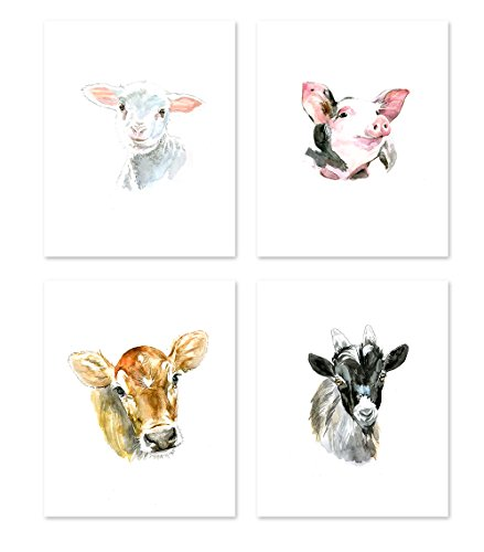AtoZStudio A22 Farm Animal Prints - Set of 4. Nursery Wall Art Decor Posters - Baby Animals Pig Cow Goat Sheep - Colorful Watercolor Painting (8x10)