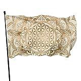 jhgfd7523 Bandera de jardín con diseño de flor de la vida en loto en oro pastel y lienzo de 3 x 5 pies para decoración del hogar