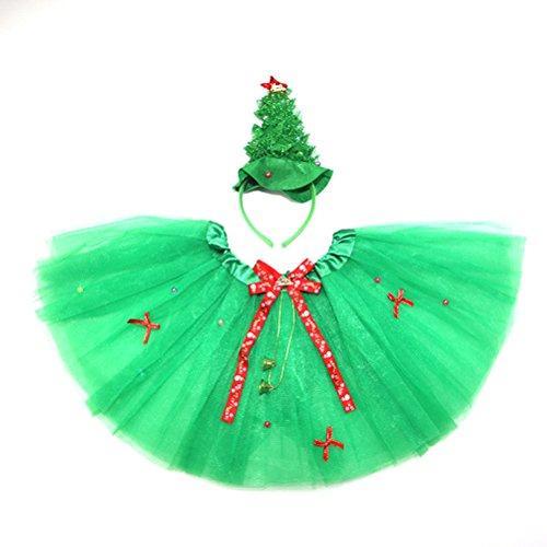 Disfraz hada nia y diadema para Navidad OULII Juego diadema con rbol con falda de tut de verde