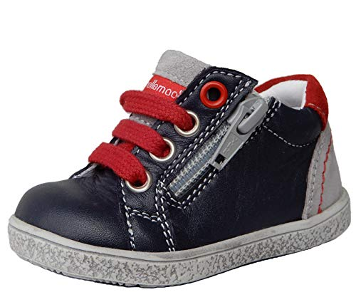 ennellemoo® Jungen-Baby-Kinder-Sneaker-Halbschuhe-Lauflernschuhe. Echt Leder-Schuhe. Premiumschuhe - Vollleder. (21 EU, Marineblau/Grau)