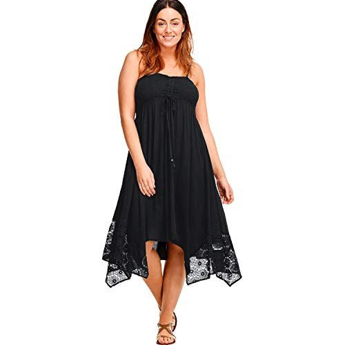Ellos Women's Plus Size Handkerchief Hem Dress - Black, 18/20