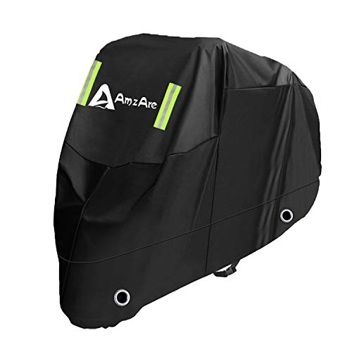 AmzAreバイクカバー 防風ベルト付き 紫外線防止 210D厚手 防水 盗難防止 丈夫な厚手オックス 収納バッグ付き