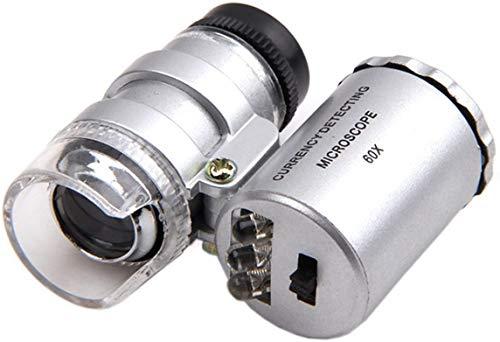 Grow Room Microscope - 60x Handheld Mini Pocket LED Loupe Magnifier - Blue or White Light -