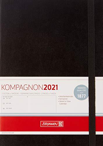 BRUNNEN 1079966901 Buchkalender Modell 799 Kompagnon, 1 Seite = 1 Woche, 14,8 x 21 cm, Baladek-Einband schwarz, Kalendarium 2021