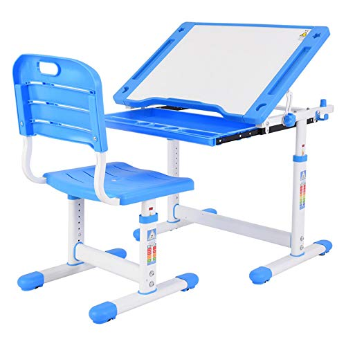 Desk and Chair Set for Kids - Height Adjustable Children Study Table with Extra Large Tilting Desktop, Stand Multifunctional Study Table Workstation for School Students (Blue)