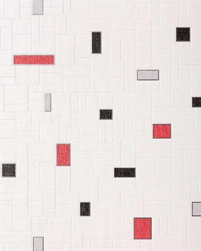 Tegel behang voor keuken en badkamer EDEM 584-26 wit zwart grijs rood