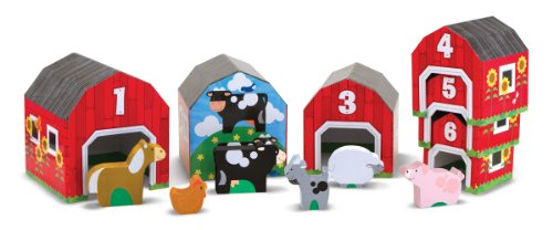 Melissa & Doug Nesting and Sorting Barns and Animals With 6 Numbered Barns and Matching Wooden Animals