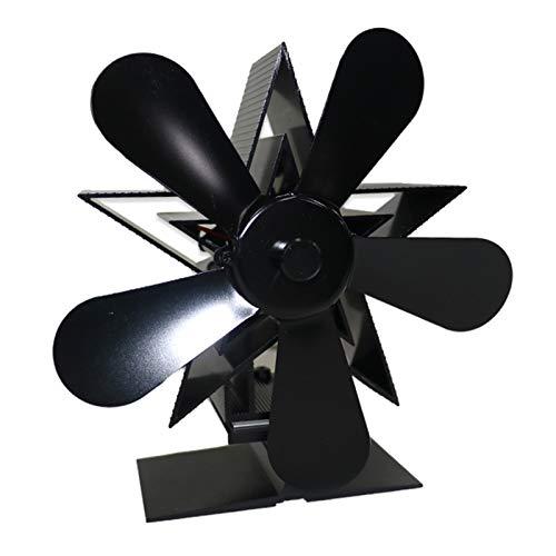 Fenteer Ventilador de Estufa de 5 Aspas con Motor para Quemador de Leña, Chimenea, Ventilador Ecológico Y Resistente, Aleación de Aluminio, Ventilador de Circ - Negro, Individual