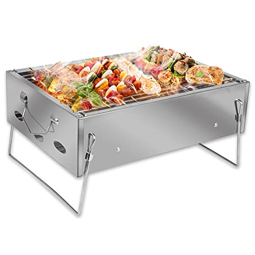 VAZILLIO Barbecue a Carbonella Portatile in Acciaio Inox per 3-5 Persone, Griglia Barbecue Rinforzata, Barbecue Carbone da Tavolo Pieghevole per Picnic, Viaggi, Giardino, Campeggio