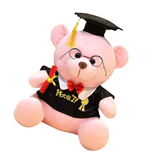 VICASKY Graduación Oso de Peluche Juguetes de Peluche Muñeca Adorable Regalos con Cao para Niños de La Escuela Secundaria Graduados de La Clase Superior de 2021 Rosa 30Cm