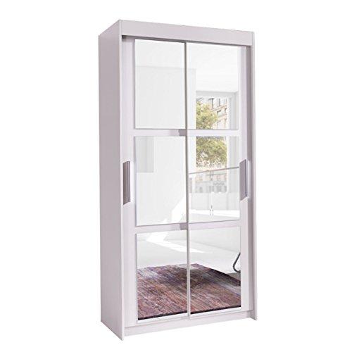 Kleiderschrank Karo 100, Elegantes Schlafzimmerschrank mit Spiegel, 100 x 216 x 60 cm, Modernes Schwebetürenschrank, Schiebetür, Schlafzimmer (Weiß/Spiegel)