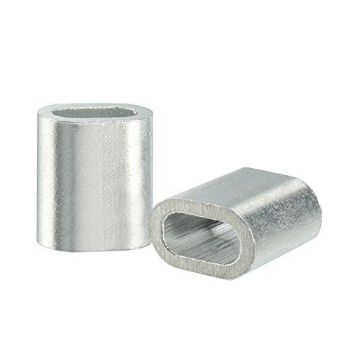 sourcingmap 50 Stück 0.5mm Aluminum Oval Form Kabel Drahtseil Ärmel Clips Crimpen Schleifen DE de