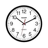 SHARP Wall Clock Silent Non Ticking 10 Inch Quality Quartz Battery Operated Round Easy to Read Home/Kitchen/Office/Classroom/School Clocks, Sweep Movement,Black